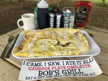 Bob's Grill Outer Banks Restaurant, Garbage Plate Omelet Challenge