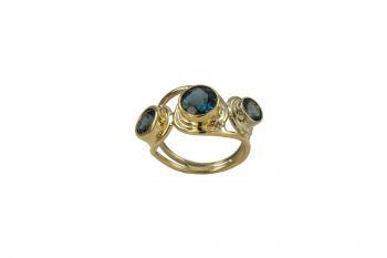 Jewelry By Gail, Trio London Blue Topaz Ring