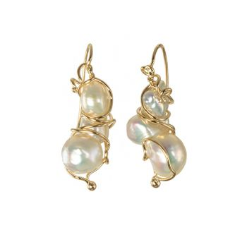"""Jewelry By Gail, """"Cocoons"""" Pearl Earrings"""