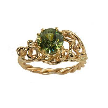 "Jewelry By Gail, ""Dragon's Eye"" Demantoid Garnet Ring"