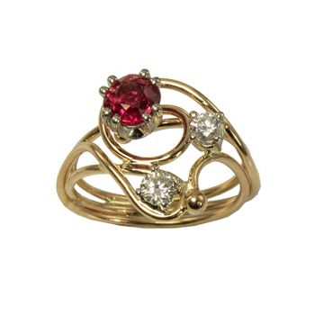 """Jewelry By Gail, """"Hot, Hot, Hot!"""" Spinel and Diamond Ring"""