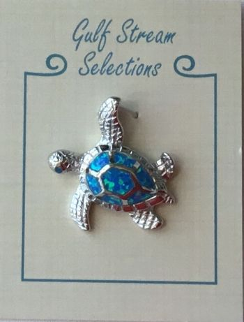 Gulf Stream Gifts, Lab Opal Turtle Sterling Silver Pendant