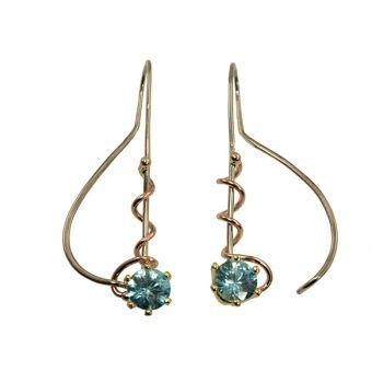 """Jewelry By Gail, """"Rosy Swirls"""" Blue Zircon Earrings"""